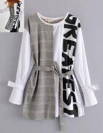Fashion White+gray Letter Pattern Decorated Shiet