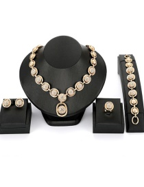 Fashion Gold Color Round Shape Decorated Jewelry Sets(4pcs)