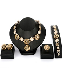 Fashion Gold Color Flower Shape Decorated Jewelry Sets(4pcs)
