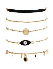 Fashion Black Eye Shape Decorated Bracelet (5 Pcs)