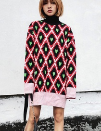 Fashion Multi-color Grid Pattern Decorated Sweater