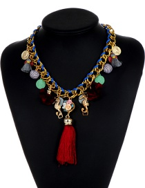 Exaggerated Multi-color Flower Shape Decorated Necklace