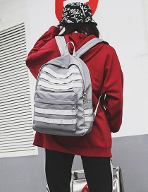 Fashion Light Gray Pure Color Decorated Backpack