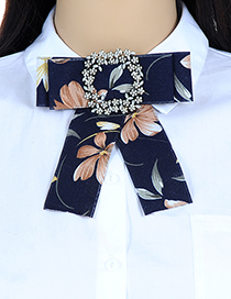 Fashion Navy Flower Shape Decorated Bowknot Brooch