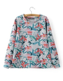 Fashion Multi-color Flower Pattern Decorated Sweater