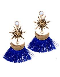 Fashion Sapphire Blue Tassel Decorated Earrings