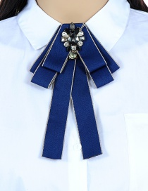 Fashion Black+blue Water Drop Shape Decorated Bowknot Brooch