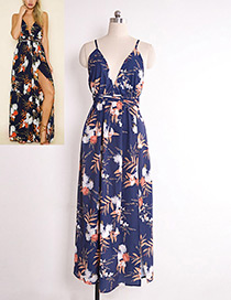 Sexy Navy Flower Pattern Decorated Dress