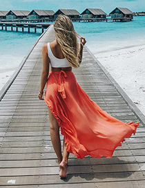 Fashion Orange Pure Color Decorated Skirt