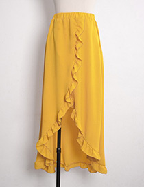 Fashion Yellow Pure Color Decorated Skirt