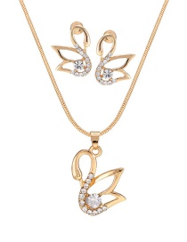 Fashion Gold Color Swan Shape Decorated Jewelry Set