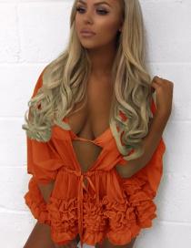 Fashion Orange Pure Color Decorated Smock