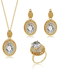 Fashion Gold Color Oval Shape Diamond Decorated Jewelry Sets