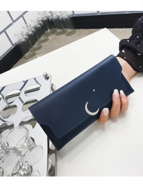 Fashion Blue Moon Shape Decorated Wallet