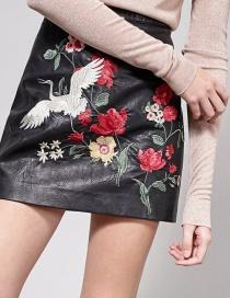 Fashion Black Flower Pattern Decorated Skirt