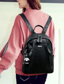 Trendy Black Pure Color Decorated Backpack(without Bear)