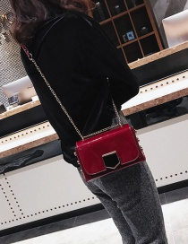 Fashion Red Pure Color Decorated Simple Shoulder Bag