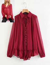 Fashion Claret Red Button Decorated Shirt