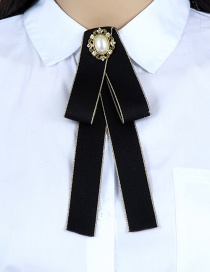 Fashion Black Oval Shape Decorated Bowknot Brooch