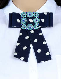 Fashion Navy Square Shape Decorated Bowknot Brooch