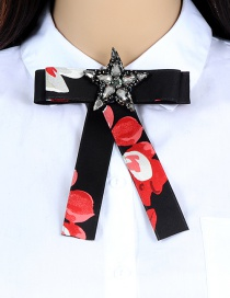 Fashion Black Star Shape Decorated Bowknot Brooch