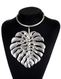 Fashion Silver Color Leaf Shape Decorated Pure Color Choker
