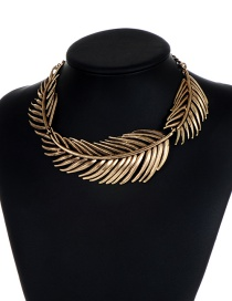 Fashion Gold Color Pure Color Design Leaf Shape Choker