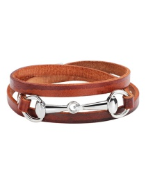 Fashion Brown+silver Color Circular Ring Decorated Multi-layer Bracelet