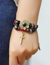 Fashion Black Flower&cross Shape Decorated Bracelet