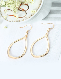Fashion Gold Color Oval Shape Design Pure Color Earrings