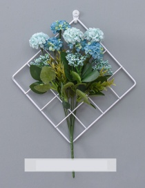 Fashion White+blue Grid Shape Design Pure Color Ornament(with Flower)