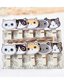 Fashion Multi-color Cartoon Cats Decorated Color Matching Clips(10pcs)