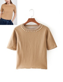 Fashion Beige Pearls Decorated Round Neckline Knitting Shirt