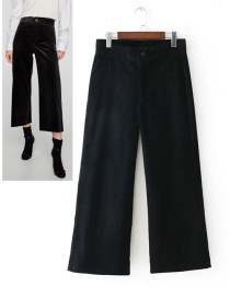 Fashion Black Pure Color Decorated Wide-legs Pants