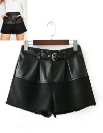 Fashion Black Pure Color Decorated Patchwork Shorts