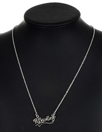 Fashion Silver Color Baby Pattern Decorated Pure Color Necklace