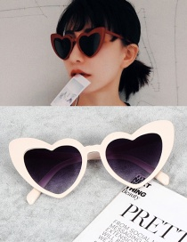 Fashion Beige Heart Shape Decorated Simple Sunglasses