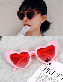 Fashion Pink Heart Shape Decorated Simple Sunglasses