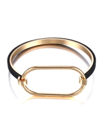 Fashion Gold Color+black Geometric Shape Design Pure Color Bracelet