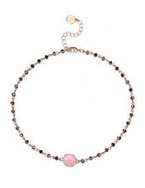 Fashion Gold Color+pink Round Shape Gemstone Decorated Necklace