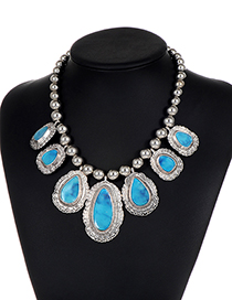 Vintage Blue Waterdrop Shape Decorated Necklace