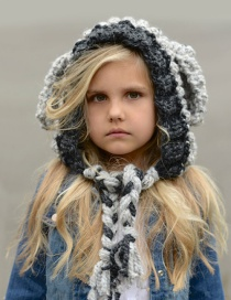 Cute Gray Sheep Ear Shape Decorated Hat