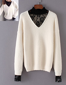 Fashion White Rose Shape Decorated Sweater