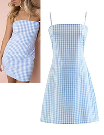 Elegant Light Blue Sqaure Shape Decorated Dress