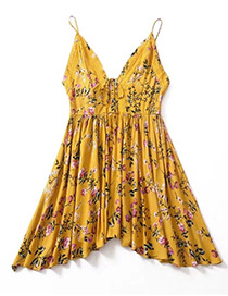 Bohemia Yellow V-neckline Decorated Dress