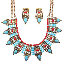 Vintage Blue+red Hollow Out Decorated Jewelry Sets