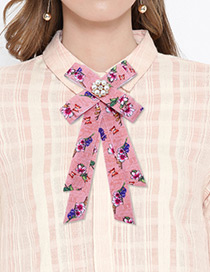 Elegant Pink Flower Shape Decorated Bowknot Brooch
