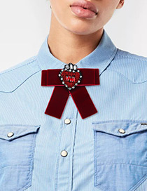 Fashion Claret-red Heart Shape Decorated Bowknot Brooch
