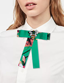 Fashion Green Bee Shape Decorated Bowknot Brooch