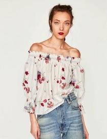 Fashion White Off-the-shoulder Decorated Blouse